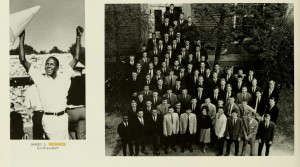 James Womack, pictured left holding a cheerleading cone and bottom left of group photo as co-president of Everett Dorm. Source: Yackety Yack, 1966.